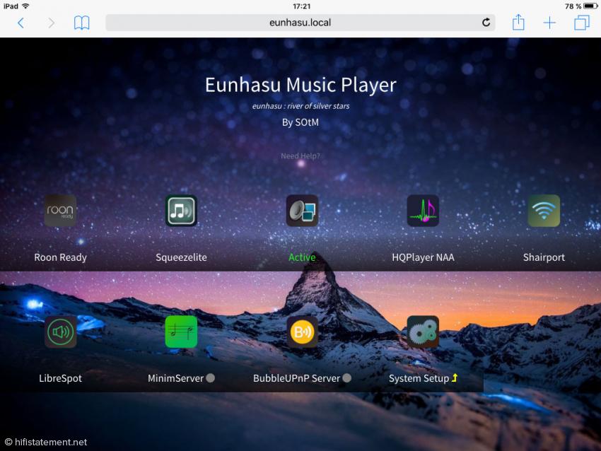 Die Eunhasu-Weboberfläche mit aktivierter MPD Renderer- und Serverfunktion