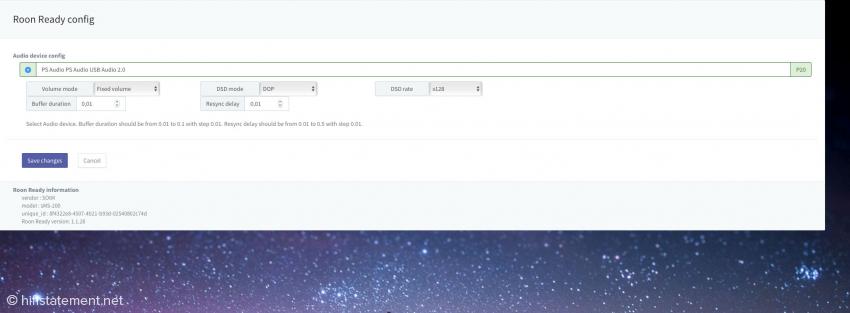 Absprung von Roon auf die Eunhasu-Weboberfläche zur Konfiguration des sMS-200ultra Neo