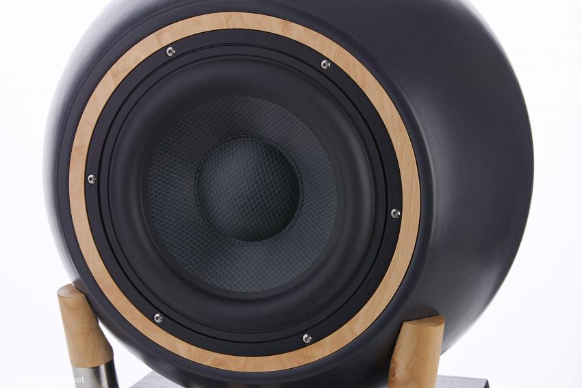 Das Bass-Chassis ist mittels des Profilringes aus vom Kunden wählbarem Holz und polierten Edelstahl-Schrauben in der Keramik befestigt