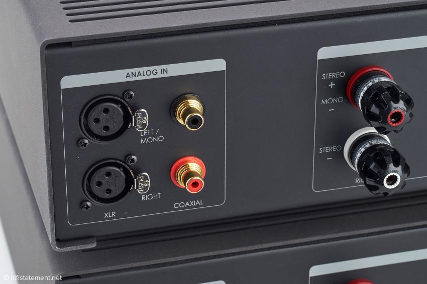 Der B.amp akzeptiert symmetrische und unsymmetrische Signale. Die Lautsprecherterminals stammen von WBT