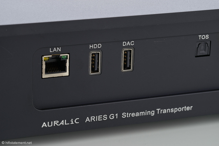 Eine L-Link-Buchse, die mechanisch einem HDMI-Ausgang entspricht, zur Verbindung mit anderen Auralic-Komponenten gibt es beim G1 nicht
