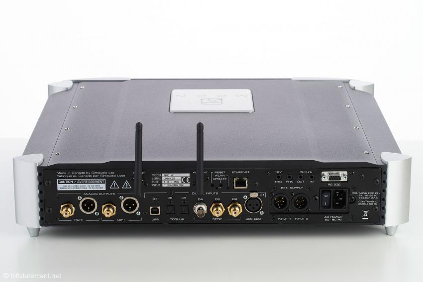 Der Moon 780D V2 bezieht Daten über die sieben Digital-Eingänge, Lan, Wlan oder Bluetooth
