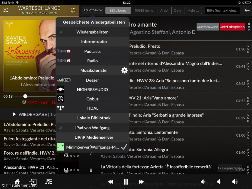 Das aufgeklappte Bibliothek-Menü zeigt auch den Zugang zum Internet-Radio. Hier lassen sich Sender unter anderem nach Genres oder auch nach MP3-Qualität aussuchen