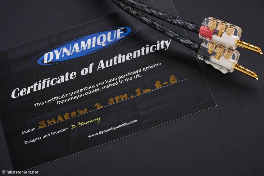 Jedem Kabel von Dynamique Audio liegt ein manuell ausgefülltes Zertifikat bei