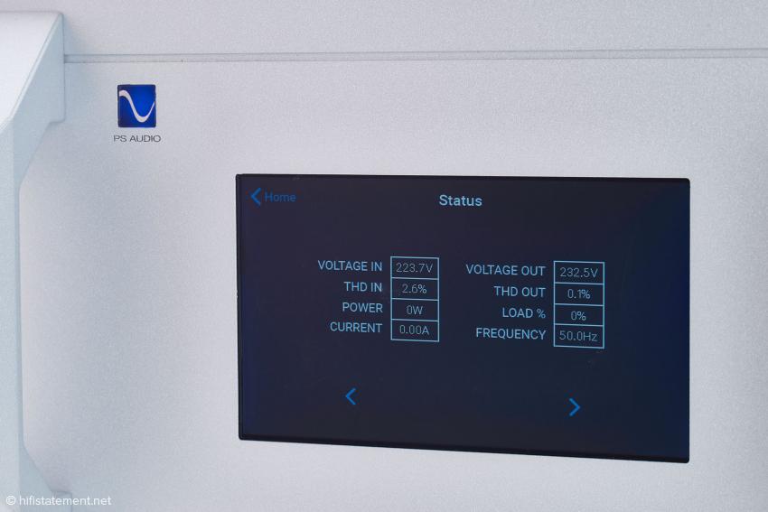 Hier lassen sich Eingangs- und Ausgangs-Werte vergleichen. Der Fotograf hatte keinen Verbraucher angeschlossen. Hier sieht man also nur die Werte der Netzstrom-Bereinigung