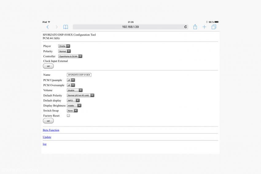 Die Konfigurationseinstellungen des Sforzato im Webbrowser