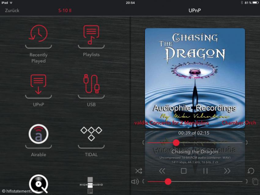 Die Netzwerkplayer-Funktionen können auch über die hauseigene App gesteuert werden