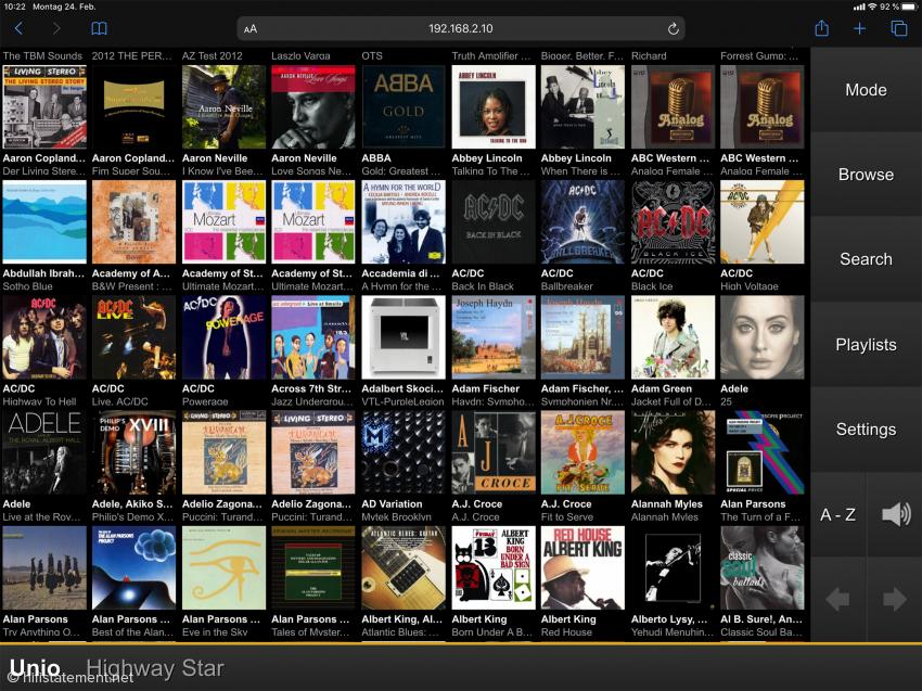 So zeigt sich die Bedienungsoberfläche des Audio One im Browser eines Smartphones oder Tablets