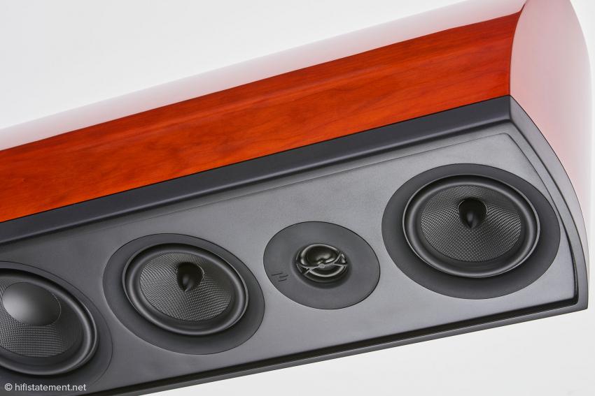 Der AperionAudio ASR™ Hochtöner befindet sich zentral zwischen den beiden Mitteltönern. Das soll eine homogene Abstrahlung über das gemeinsame Frequenzspektrum gewährleisten
