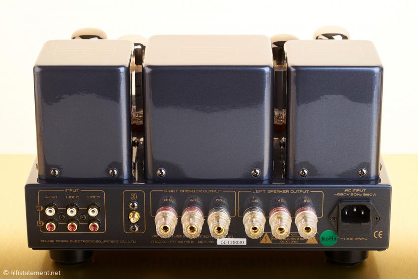 Die aufgeräumte Rückseite mit den drei Line-Eingängen, dem Anschluss für die Bluetooth-Antenne sowie den Lautsprecheranschlüssen