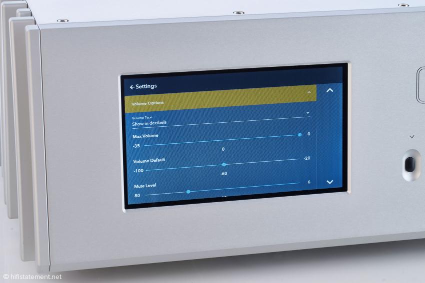 Alle wichtigen die Lautstärkeregelung betreffenden Parameter lassen in diesem Menü per Touch-Screen einstellen