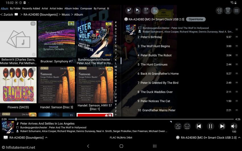 Auf dem Samsung Tablet im Querformat werden zwei Ansichten nebeneinander gezeigt, hier links die Album-Auswahl und rechts das gerade gespielte Album