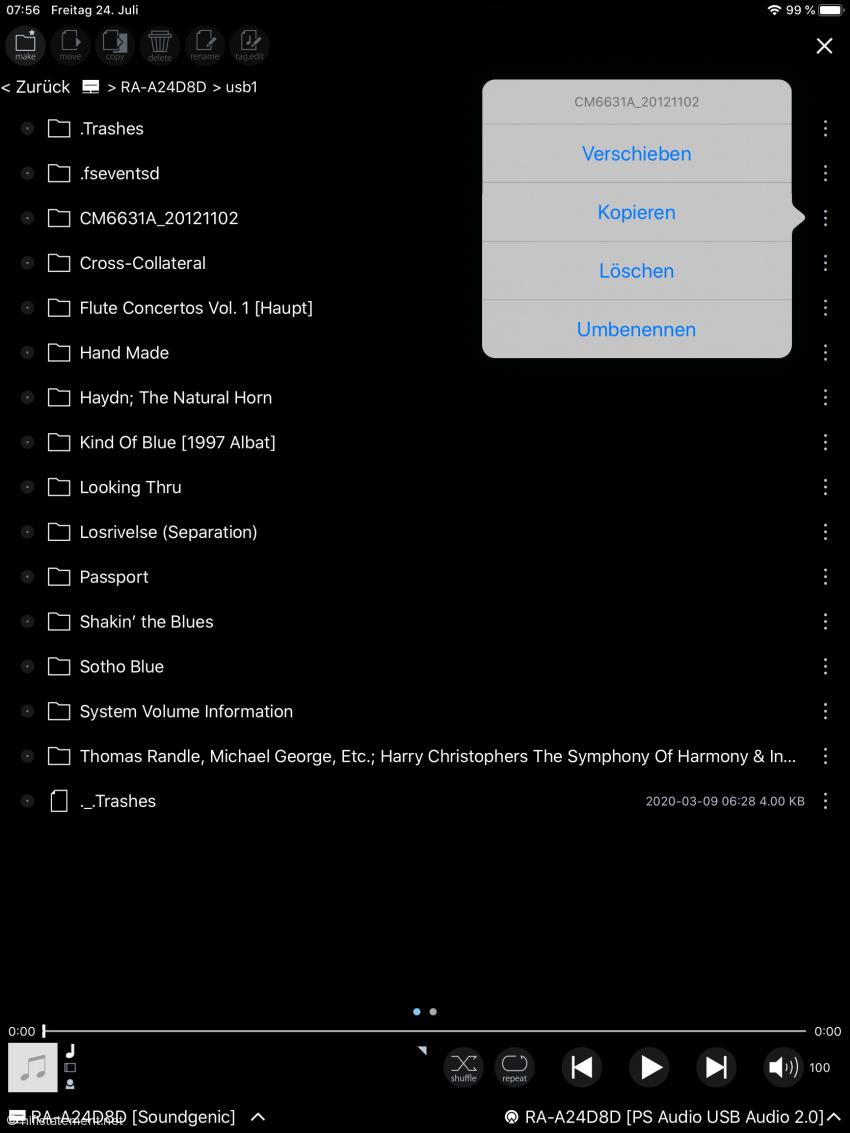 Auf dieser Menü-Ebene lassen sich Files ganz bequem vom Speicher des Soundgenic auf ein anderes angeschlossenes Speicher-Medium verschieben oder umgekehrt