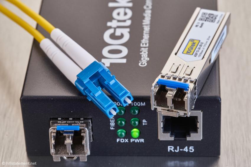 Das SFP-Modul ist beim 10Gtec im Lieferumfang enthalten und gibt damit Format und Wellenlänge für den Lichtwellenleiter vor