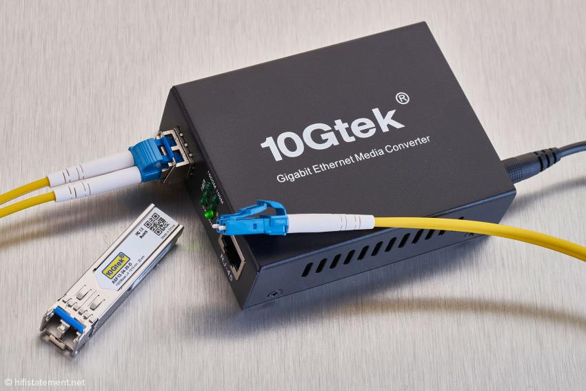 Eine Lichtleiterstrecke mit dem 10Gtec-Konverter zwischen Switch und Streaming Bridge brachte in meiner Kette keine klanglichen Vorteile