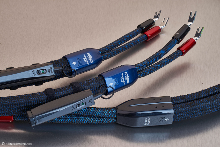 The ThunderBirds, like all Audioquest cables, are processed perfectly. However, due to the use of solid-core conductors, a certain amount of force is necessary to connect them to the speaker and amplifier terminals