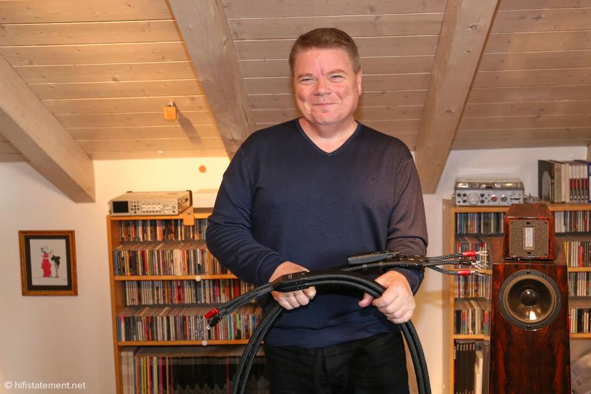 Garth Powell freut sich, dass seine ZERO-Technologie auch bei Lautsprecherkabeln zu sehr guten Ergebnissen führt