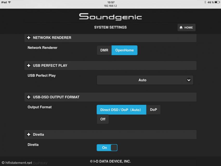 """In den Systemeinstellungen des Soundgenic Servers von Fidata ist die """"Diretta Host"""" Funktion aktiviert"""