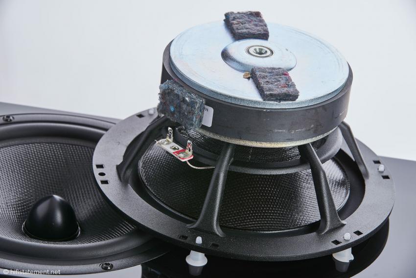 Der Bass besitzt einen starken Antrieb und verleiht der leichten, verwindungssteifen Membran Schnelligkeit
