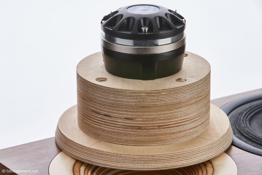 Close-up I: Der auf dem Hochtonhorn sitzende Ein-Zoll-Druckkammertreiber aus italienischer Produktion besitzt eine 38 Millimeter große Mylar Membran
