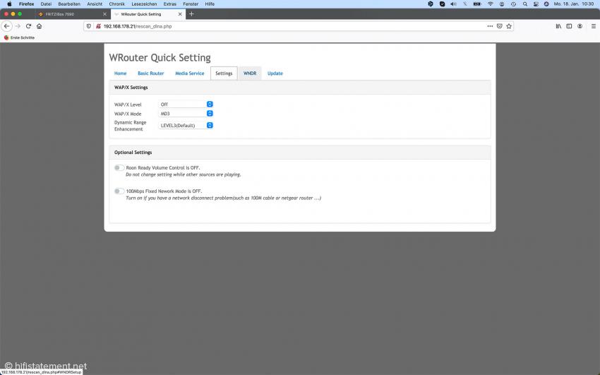 Hier die Seite für die Einstellungen der WAP/X-Schaltung. Die Werte können auch über die beiden Tasten rechts auf der Frontseite des Gerätes und das kleine Display in der Mitte eingegeben werden