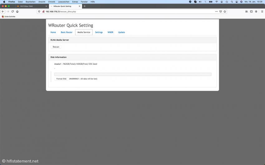 Der Wrouter wird über die IP-Adresse per Browser eingestellt. Hier die Angaben zur Festplatte