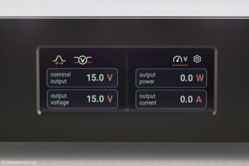 Das Display liefert im laufenden Betrieb Informationen über die Spannung und die vom angeschlossenen Gerät abgerufene Leistung nebst Strom