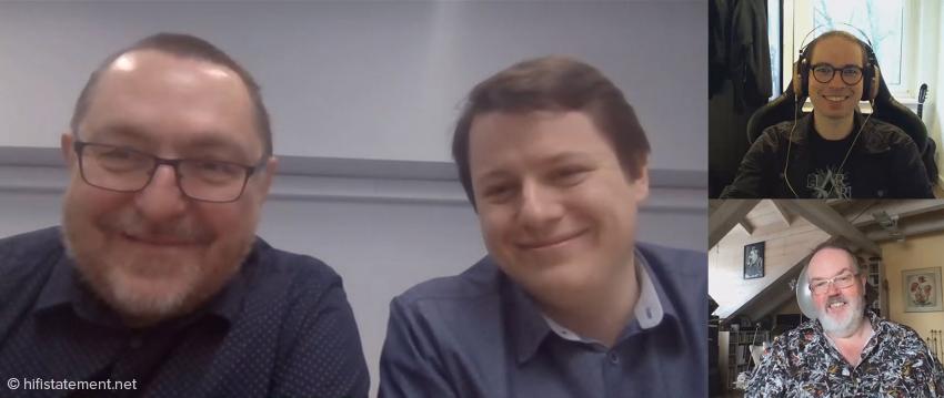 Ein Screenshot aus dem Skype-Interview mit Marcin Hamerla und Paweł Gorgoń, rechts oben Finn Corvin Gallowsky und darunter Dirk Sommer