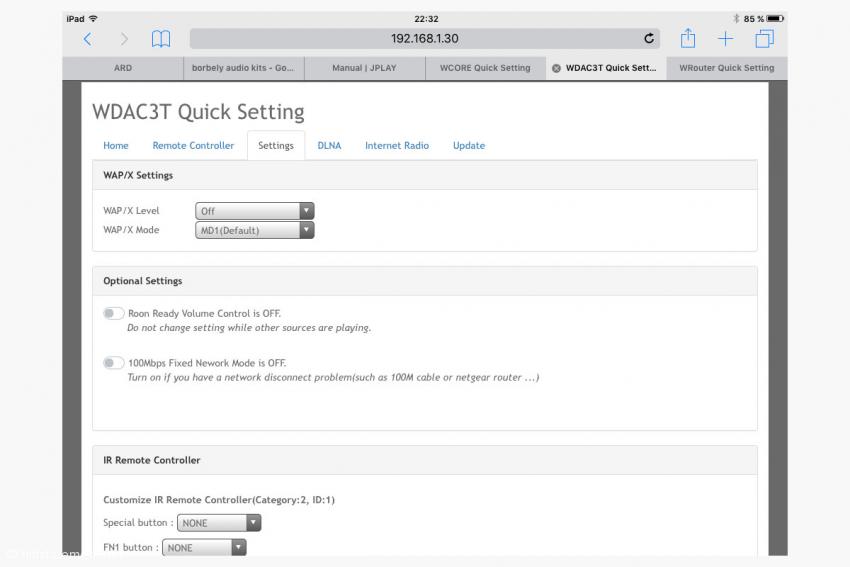 Einige Einstellungen des WDAC 3T lassen sich auch über einen Browser ausführen