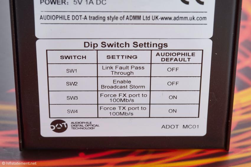 Das Melco Switch und das SOtM sNH-10G kommunizieren mit dem ADOT nur, wenn man die FX- und TX-Ports entgegen dieser Empfehlung nicht auf 100 Mb/s bandbreitenbegrenzt