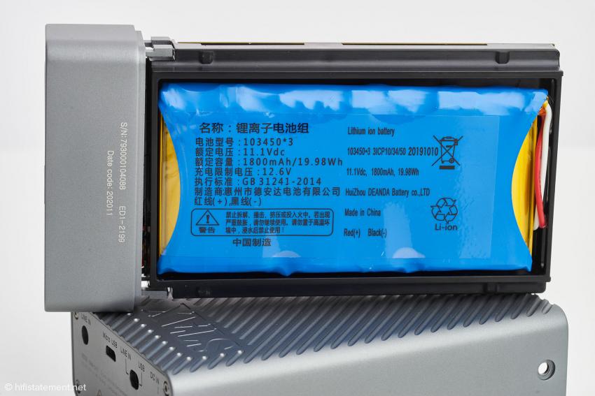 Der Lithium-Ionen-Akku macht den Stax mobil – und das über einige Stunden